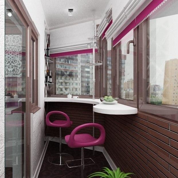 Уникальный дизайн барной стойки на балконе