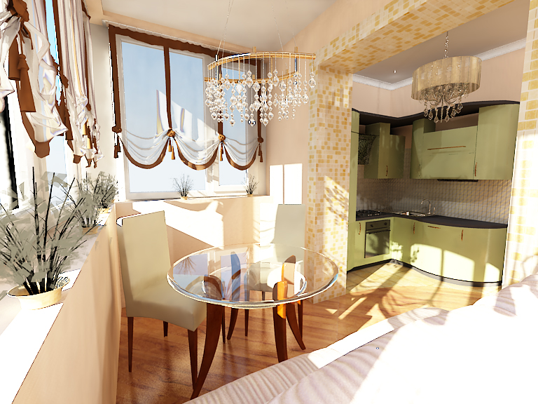 Дизайн маленькой кухни совмещенной с балконом
