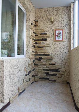 Отделка балкона декоративным камнем своими руками