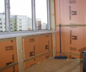 Утепление стен балкона пеноплексом