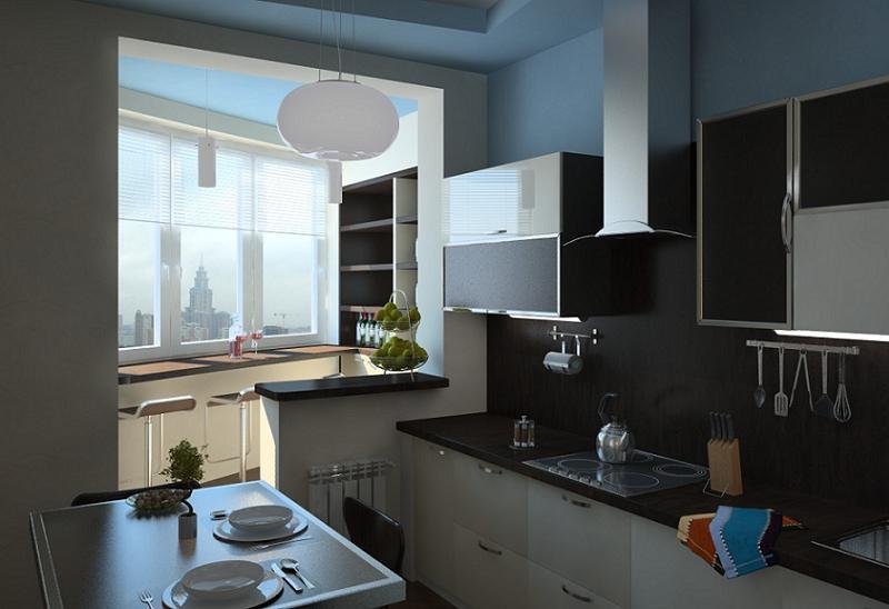 Вид кухни совмещенной с балконом