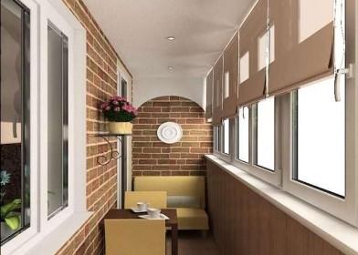 Дизайн лоджии с натяжным потолком