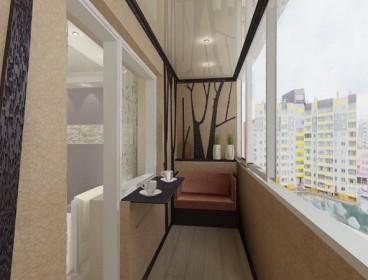Фото натяжного потолка на балконе